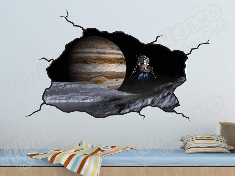 outer space planet and space craft nasa wall decal boys bedroom