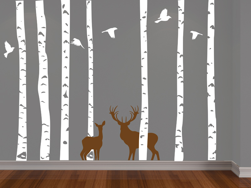 Birch Forest, Deer And Birds Vinyl Wall Decal   FREE SHIPPING