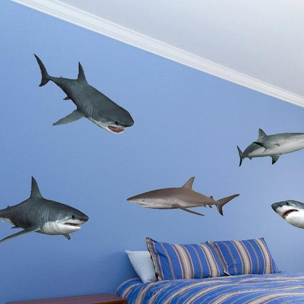 Great white sharks Vinyl Wall Decal Nursery Boys Bedroom Decor Shark Wall Stickers - Removabel and Reusable